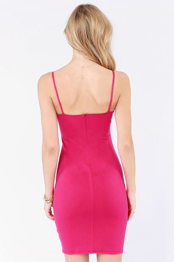 Away We Bow Bodycon Fuchsia Pink Dress at Lulus.com!