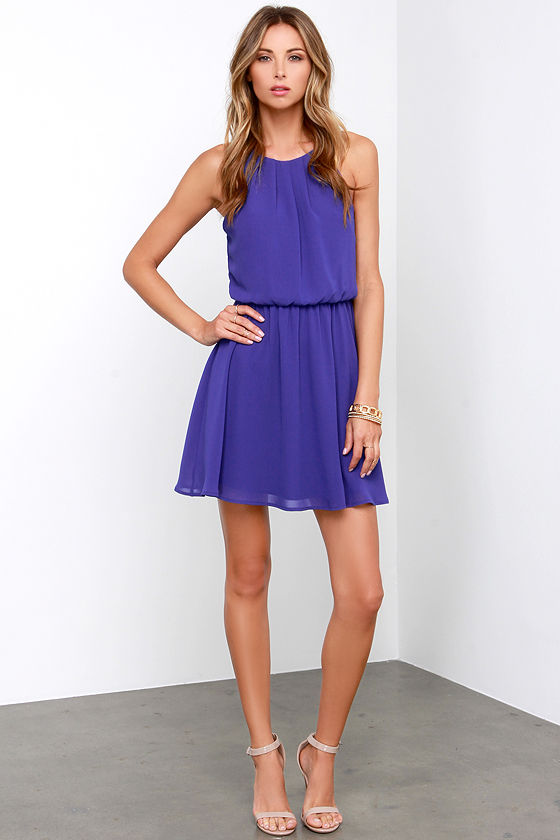 Blue dress purple shoes