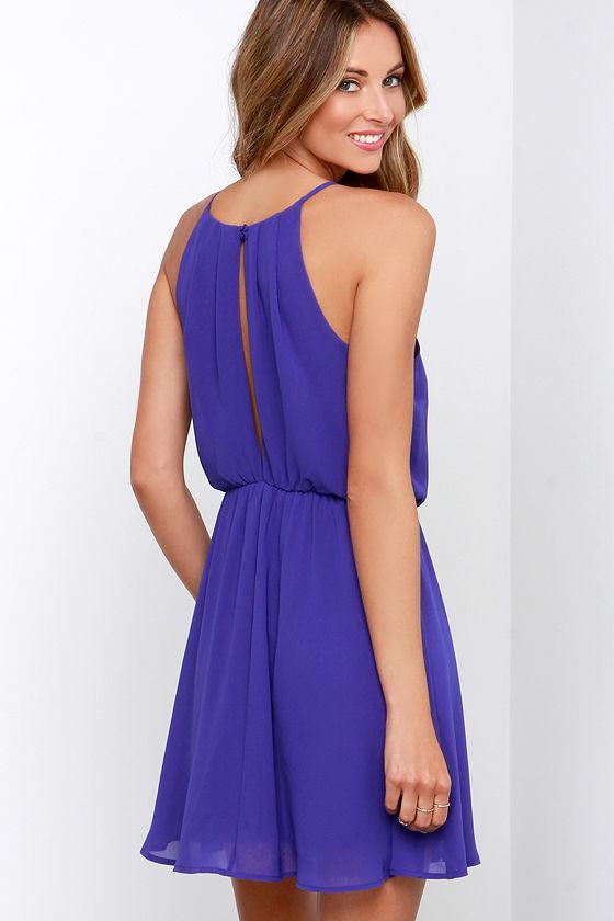 Pretty Inidgo Blue Dress - Sleeveless Dress - $44.00