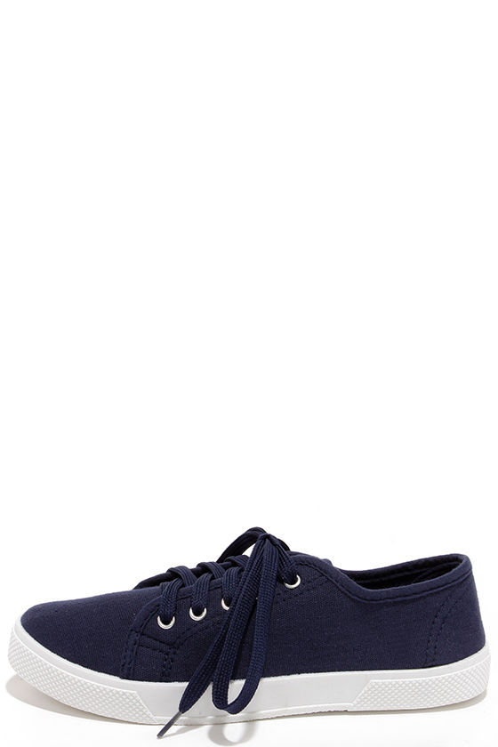 6077a5b26f Cute Navy Blue Shoes - Lace-Up Sneakers - Tennis Shoes - $16.00