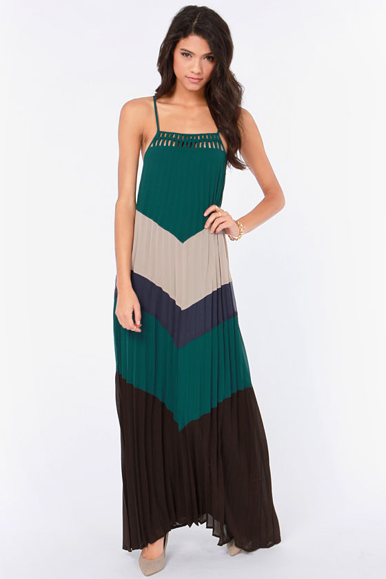 Love at First Height Dark Teal Color Block Maxi Dress at Lulus.com!