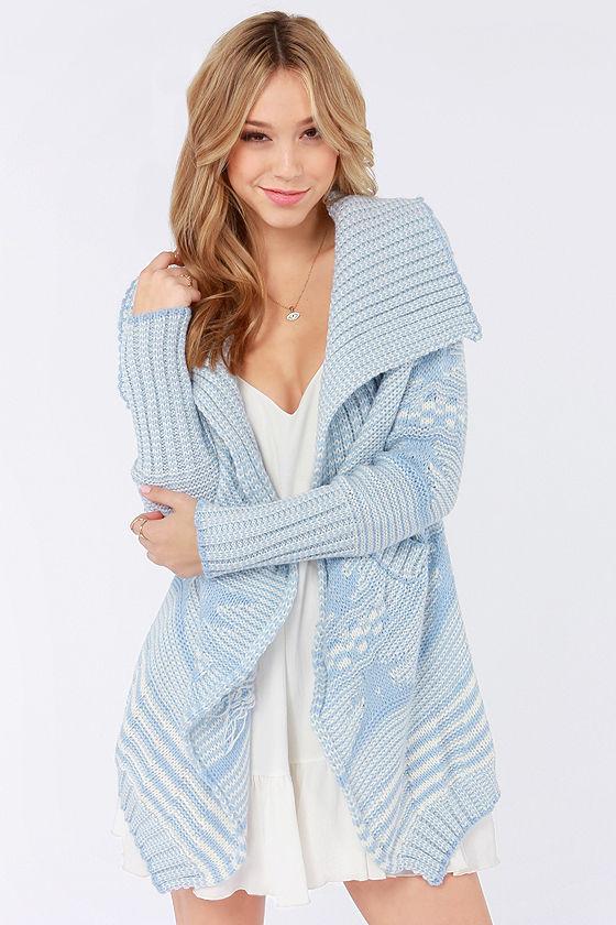 Cute Light Blue Sweater Cardigan Sweater Knit Sweater