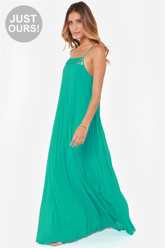 8acd1d7c11 Cute Teal Dress - Maxi Dress - Pleated Dress - $54.00