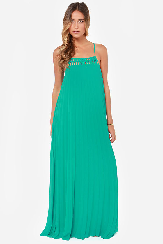 LULUS Exclusive The Pleat Life Teal Maxi Dress at Lulus.com!