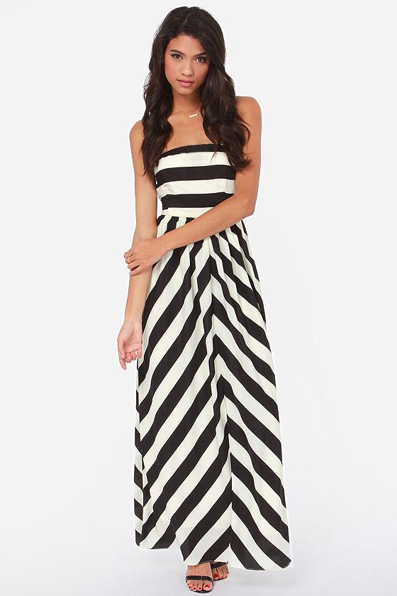 280add090b Cute Ivory and Black Striped Dress - Strapless Maxi Dress