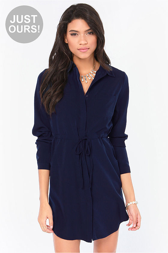 Cute Blue Dress - Shirt Dress - Long Sleeve Dress - $54.00