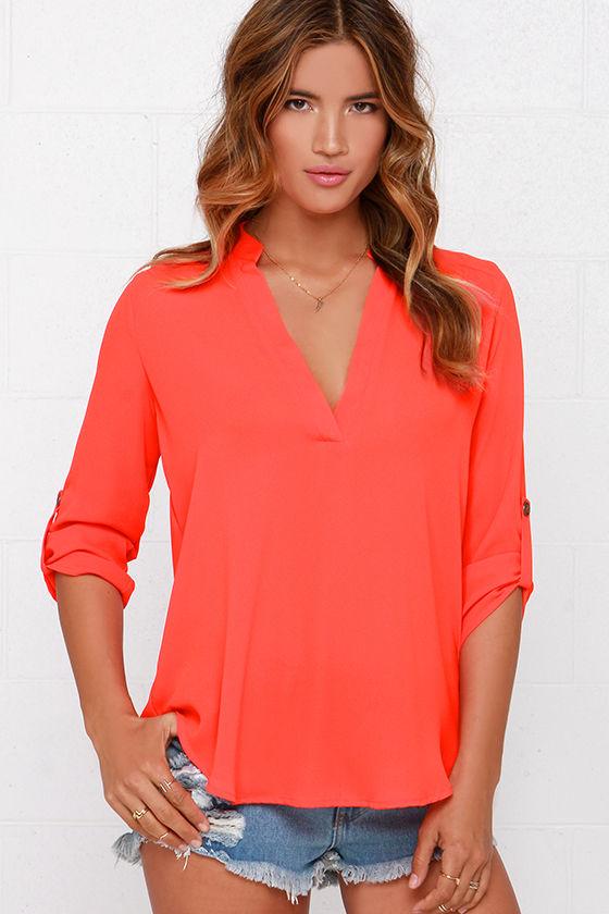 Cute Red Orange Top - Woven Top - Short Sleeve Top -  37.00 4e2133452