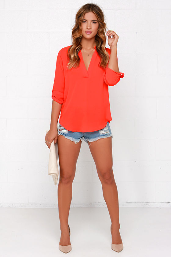 9c3d9da1c4b Cute Red Orange Top - Woven Top - Short Sleeve Top -  37.00