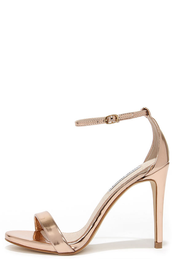 1316ac9781455f Rose Gold Heels - Ankle Strap Heels - Single Sole Heels -  79.00