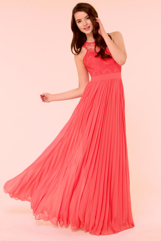Bariano Stun In a Million Coral Red Lace Dress - $205 : Fashion ...
