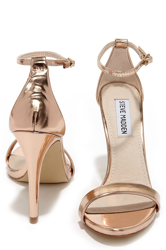 Rose Gold Heels - Ankle Strap Heels - Single Sole Heels - $79.00