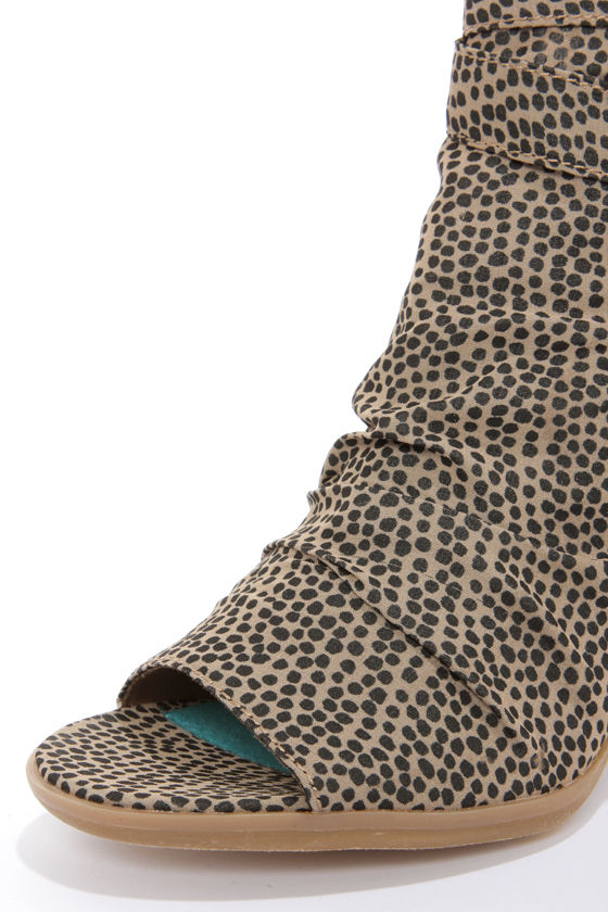 Blowfish Ellis Brown Rain Dot Print Cutout Peep Toe Booties at Lulus.com!
