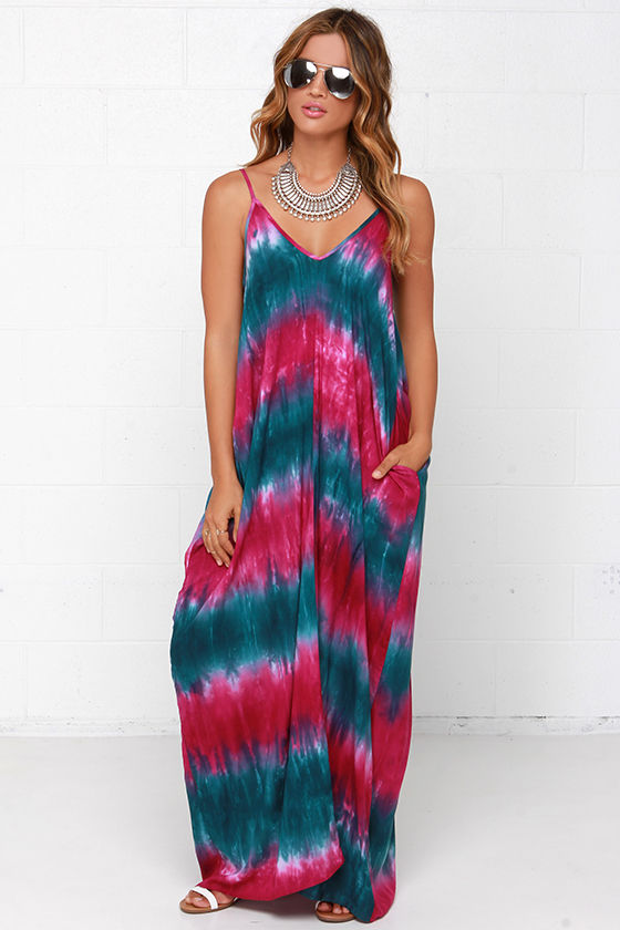 aeb577e38b Boho Teal and Fuchsia Maxi Dress - Casual Tie-Dye Dress