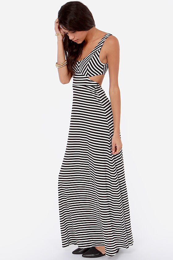 Latitude Adjustment Ivory and Black Striped Maxi Dress at Lulus.com!