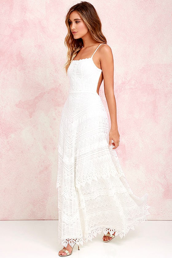 Lovely Ivory Dress Lace Dress Maxi Dress Backless Dress 7400