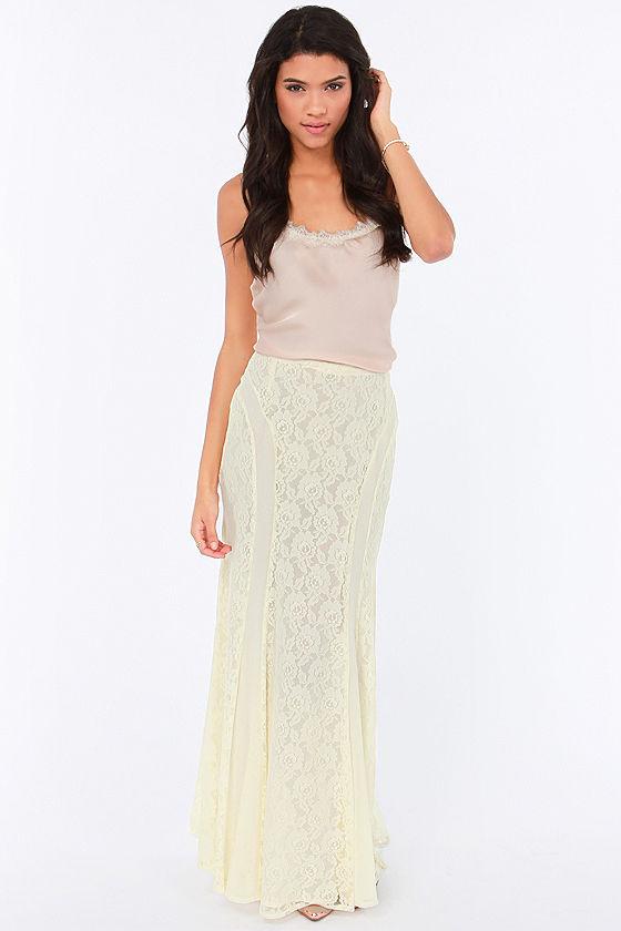 25ff07faac Pretty Cream Skirt - Lace Skirt - Maxi Skirt -  59.00