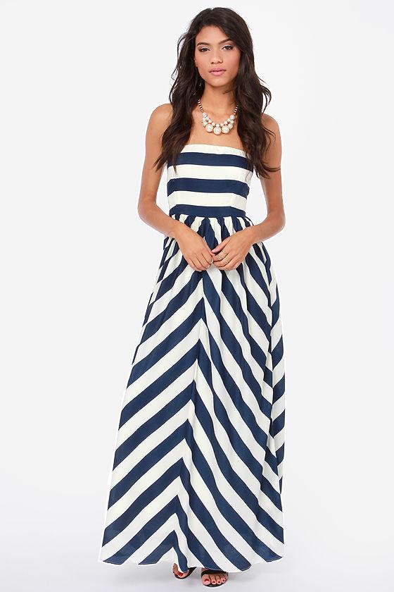 Cute Striped Dress - Strapless Dress - Maxi Dress - $54.00