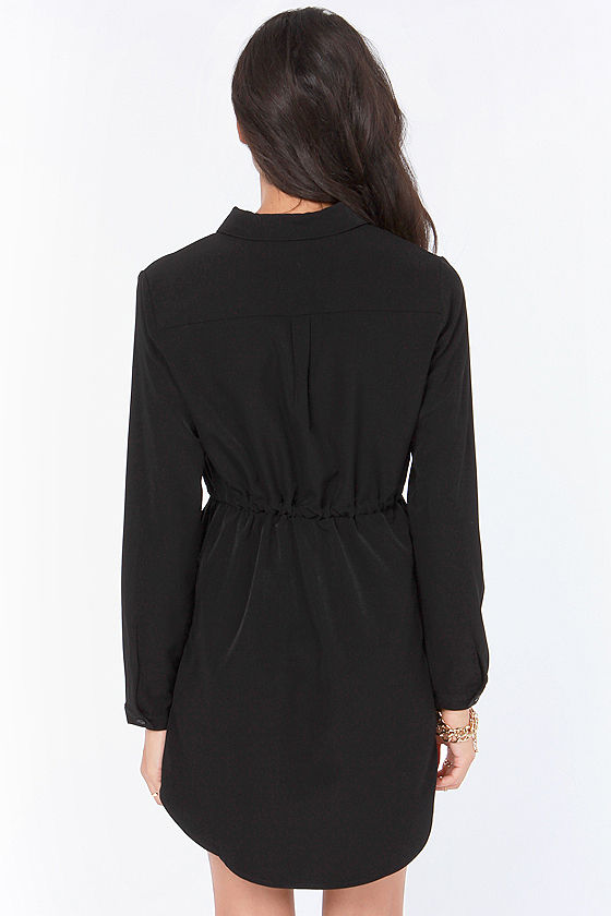 LULUS Exclusive Vote of Confidence Black Shirt Dress at Lulus.com!