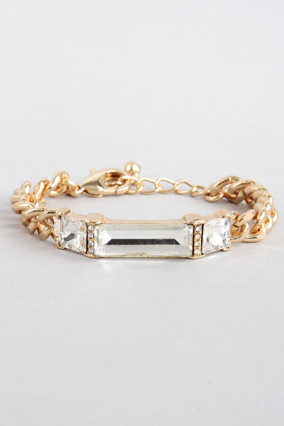 Bar None Gold Rhinestone Bracelet at Lulus.com!