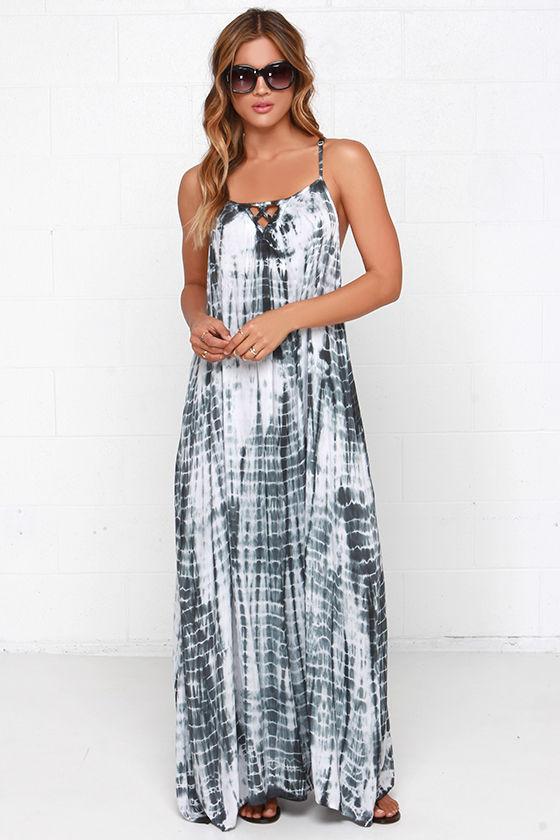 508f09041a Maxi Dress - Tie-Dye Dress - Grey Dress - $58.00