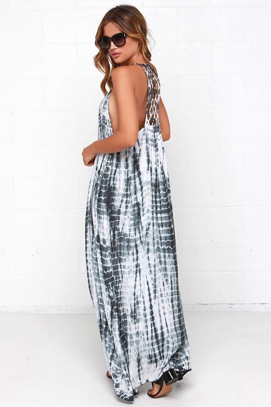 Maxi Dress - Tie-Dye Dress - Grey Dress - $58.00