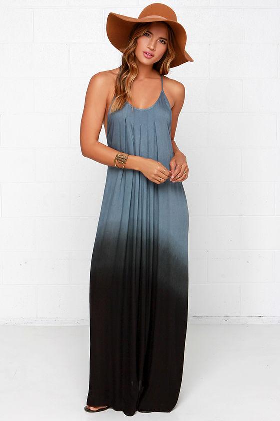 Blue Dress - Ombre Dress - Maxi Dress - Dip-Dye Dress - $64.00