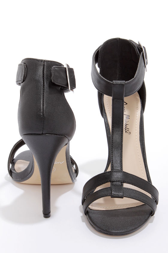 Anne Michelle Enzo 43 Black T-Strap High Heels at Lulus.com!