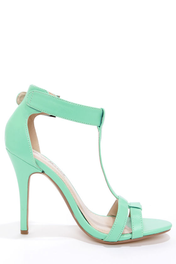 Anne Michelle Enzo 43 Mint T-Strap High Heels at Lulus.com!