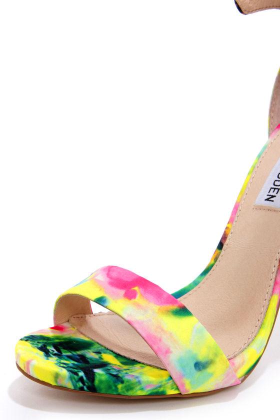 Steve Madden Marlenee Floral Print Ankle Strap Heels at Lulus.com!