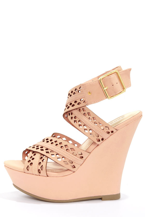 0961d300aa5 Cute Blush Shoes - Pink Wedges - Wedge Sandals -  36.00
