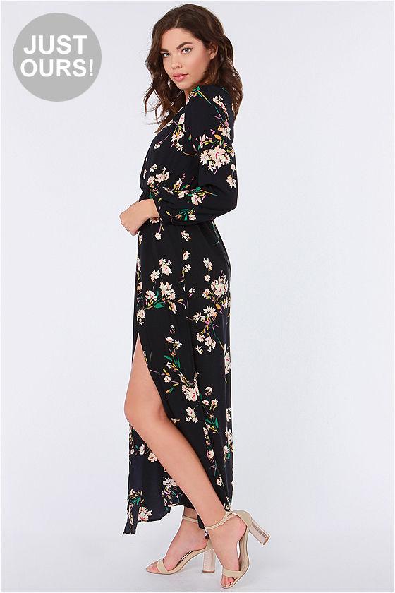 Cute Maxi Dress - Floral Print Dress - Wrap Dress - $61.00