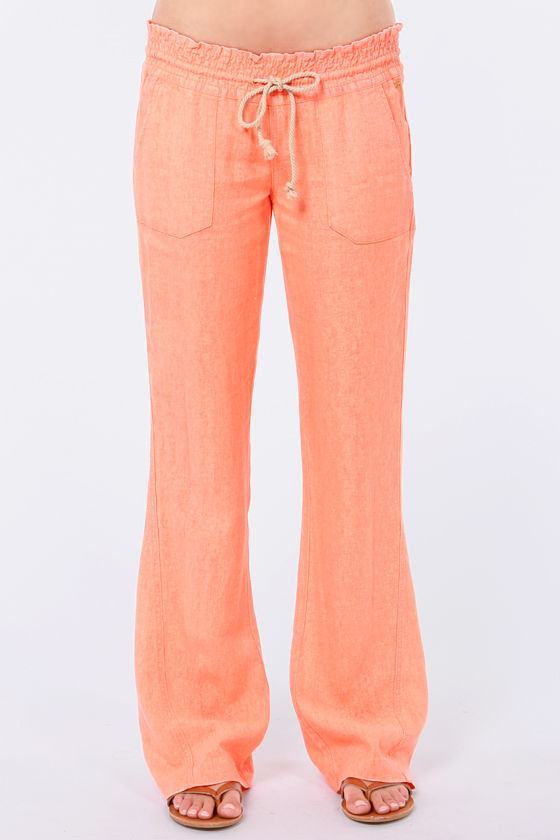 Roxy Bell Bottoms Neon Coral Pants at Lulus.com!