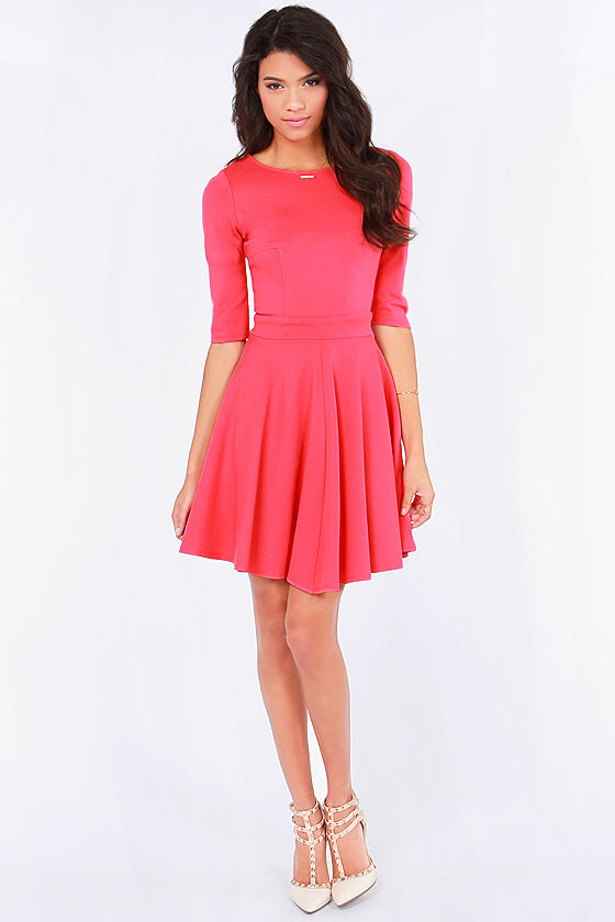 Just a Twirl Coral Pink Dress at Lulus.com!