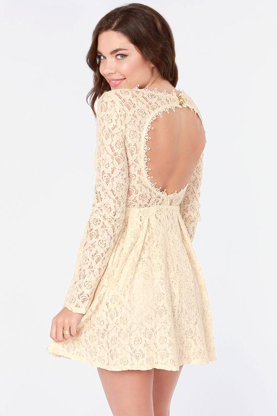 Pretty Lace Dress - Cream Dress - Backless Dress - Skater Dress -  69.00 9ac1cc214