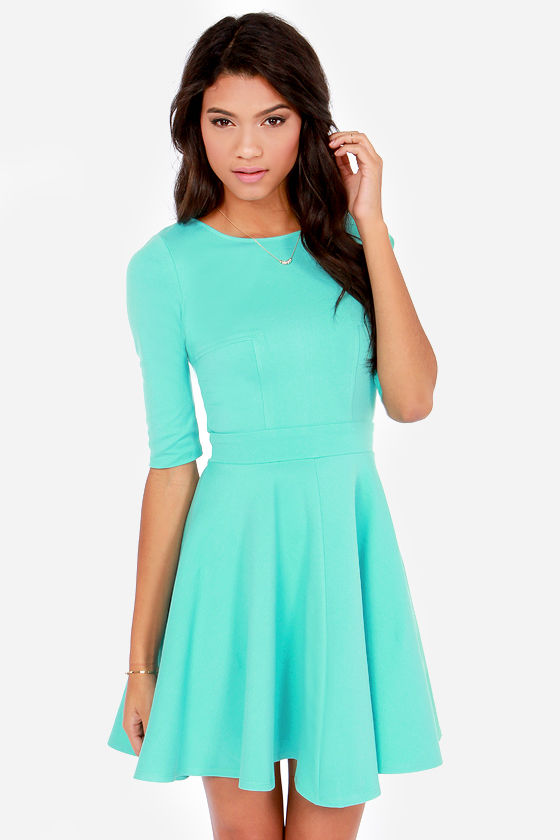 Cute Mint Dress - Skater Dress - Dress with Sleeves - $49.00