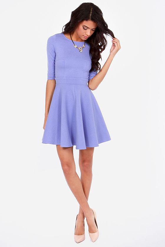 Cute Lavender Dress - Skater Dress - Dress with Sleeves - $49.00