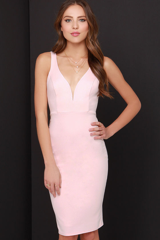 Sexy Light Pink Dress - Midi Dress - Bodycon Dress - $45.00