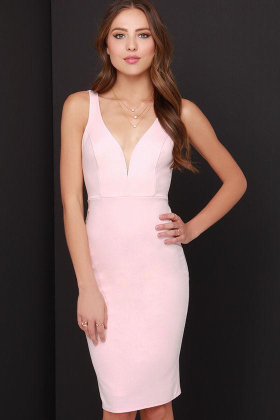 cce026c9d225 Sexy Light Pink Dress - Midi Dress - Bodycon Dress -  45.00