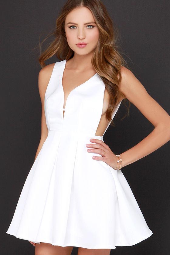 0fee9f2100 Pretty Ivory Dress - Skater Dress - Sleeveless Dress -  54.00