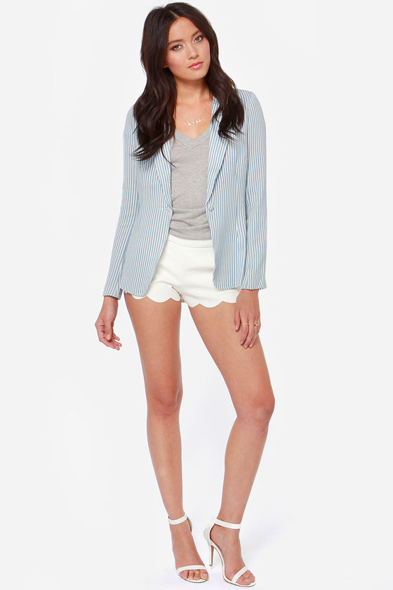Career Cutie Blue Striped Blazer at Lulus.com!