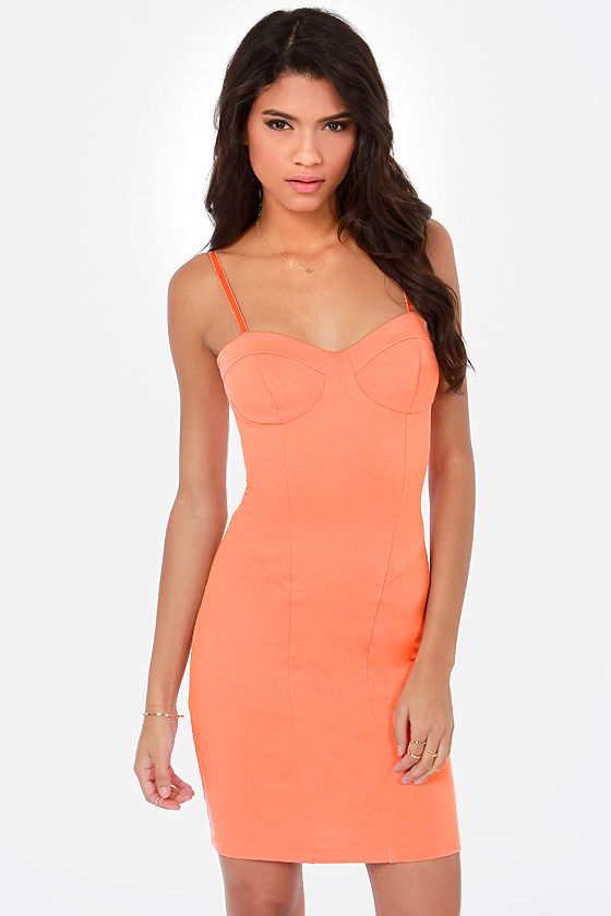12a6ba029e84 Sexy Peach Dress - Bodycon Dress -  38.00