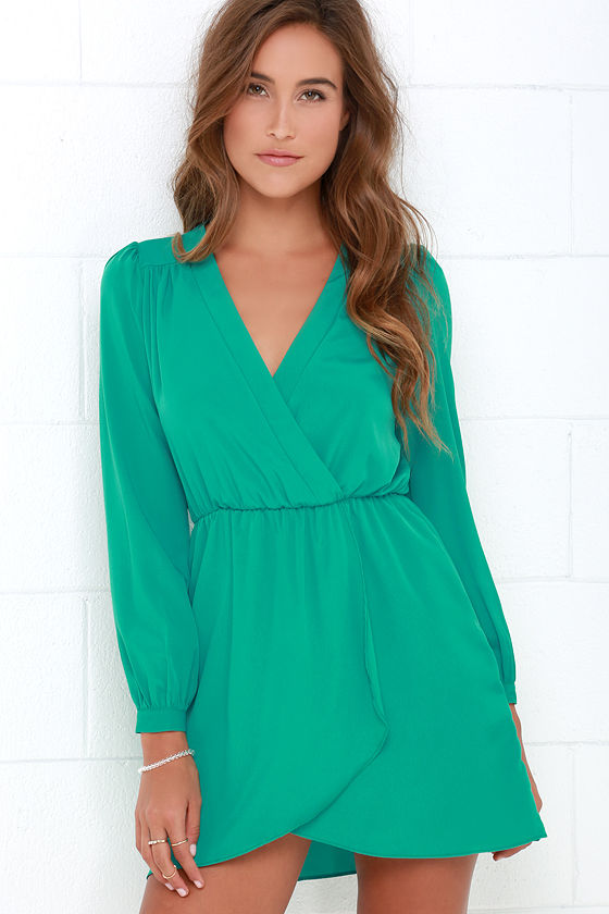 Cute Teal Green Dress - Wrap Dress - Long Sleeve Dress - $49.00