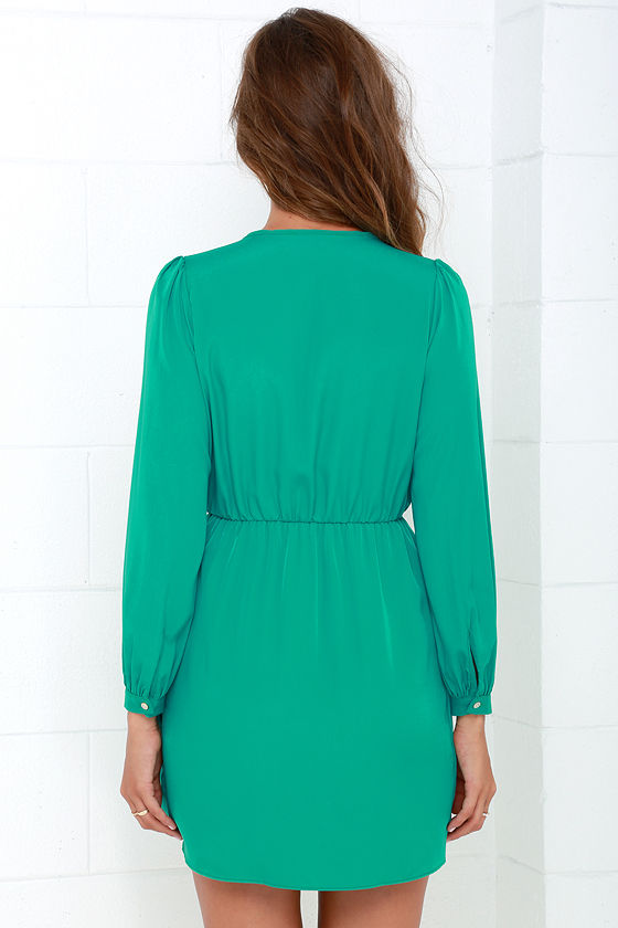 That's a Wrap Teal Green Long Sleeve Dress at Lulus.com!