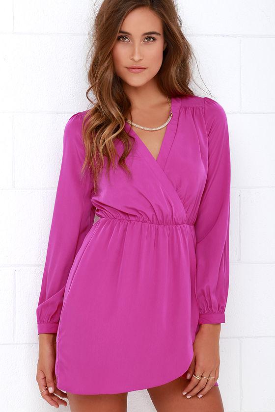 Cute Magenta Dress - Wrap Dress - Long Sleeve Dress - $49.00