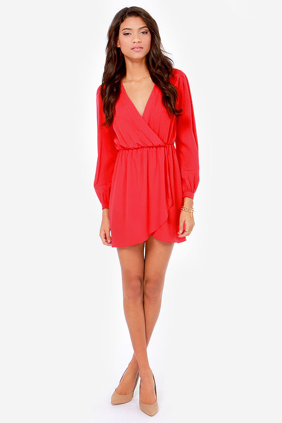 Cute Bright Red Dress - Wrap Dress - Long Sleeve Dress - $49.00