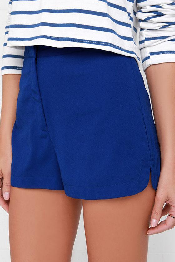 Royal Blue Shorts - High-Waisted Shorts - $38.00