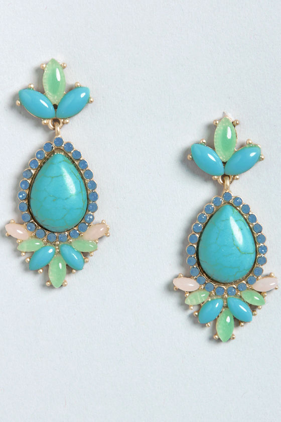 Fame and Fortune Turquoise Rhinestone Earrings at Lulus.com!