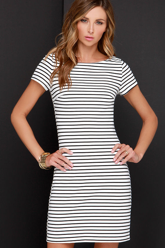 Black and White Dress - Striped Dress - Sheath Dress - $52.00