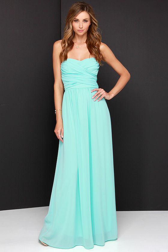 Lovely Aqua Dress - Strapless Dress - Maxi Dress - $68.00