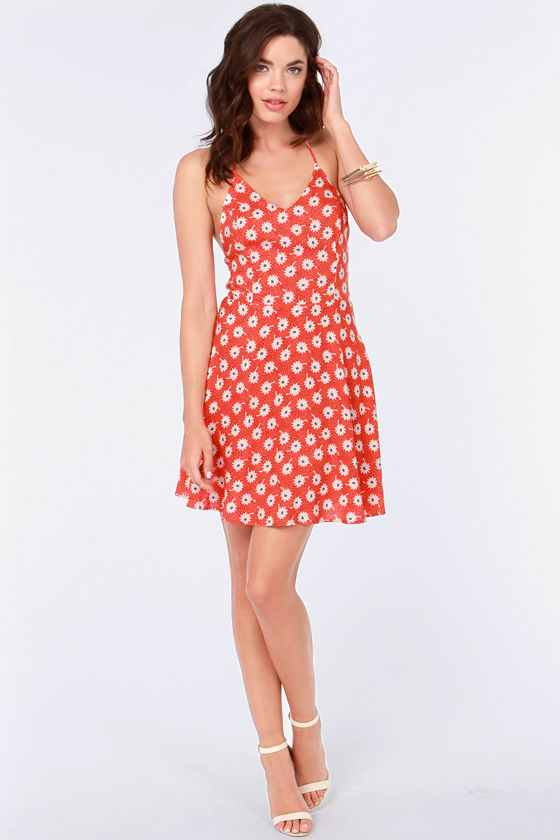 Baby Got Bloom Red Orange Floral Print Dress at Lulus.com!